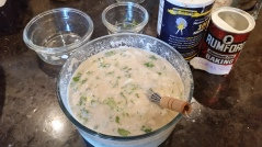 Blend the batter, add some chopped cilantro and onions, a pinch of baking soda