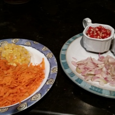Grated carrots & corn to be cooked with the rice & Granishings to be added later