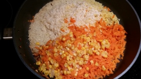 Add drained rice and veggies