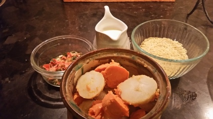 Orzo, Dehydrated Veggies, potato, sweet potato and milk