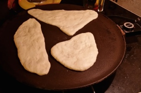 Slap the dough onto the hot griddle at 450 F