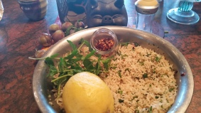 Filling - Cooked rice flavored with mint, red pepper flakes, lemon juice and salt