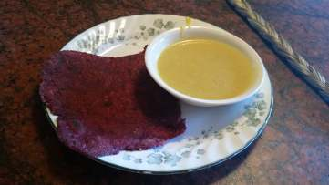 Enjoy with blue squash soup